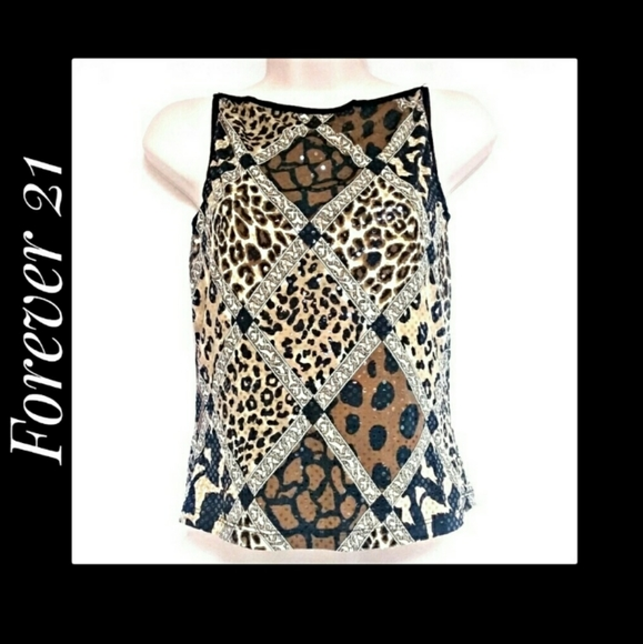 Forever 21 Animal Print Sequinned Top Size Medium